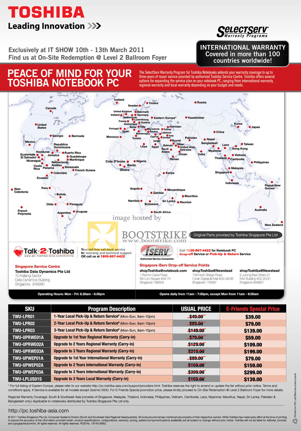 IT Show 2011 price list image brochure of Toshiba SelectServ International Regional Warranty Upgrade Options E-Friends