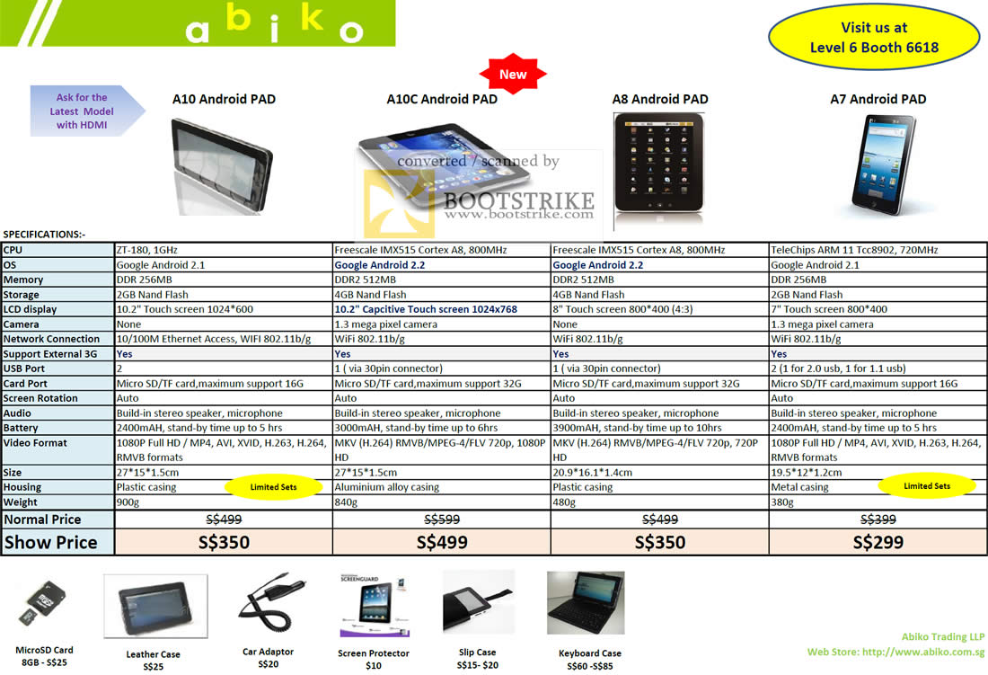 IT Show 2011 price list image brochure of Vectra Abiko Tablets A10 Android PAD A10C A8 A7 MicroSD Case Adapter Screen Protector