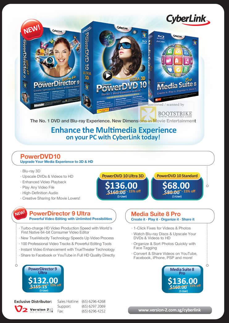 IT Show 2011 price list image brochure of Version 2 Cyberlink PowerDirector 9 Ultra PowerDVD 10 Media Suite 8 Pro