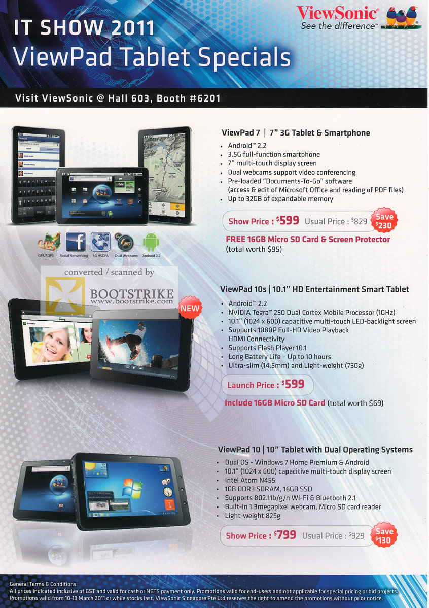 IT Show 2011 price list image brochure of Viewsonic ViewPad Tablet ViewPad 7 10s 10