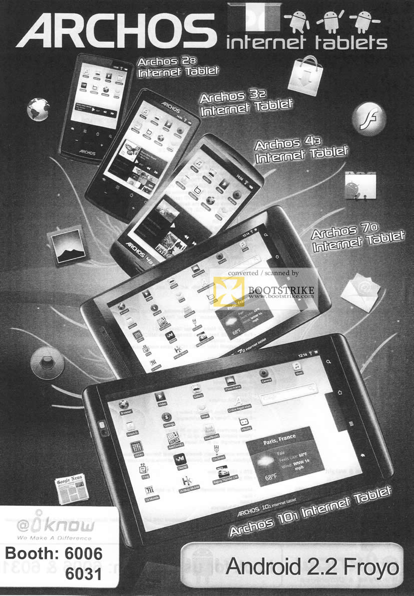 IT Show 2011 price list image brochure of IKnow Archos Internet Tablet 28 32 43 70 10i Android 2.2 Froyo