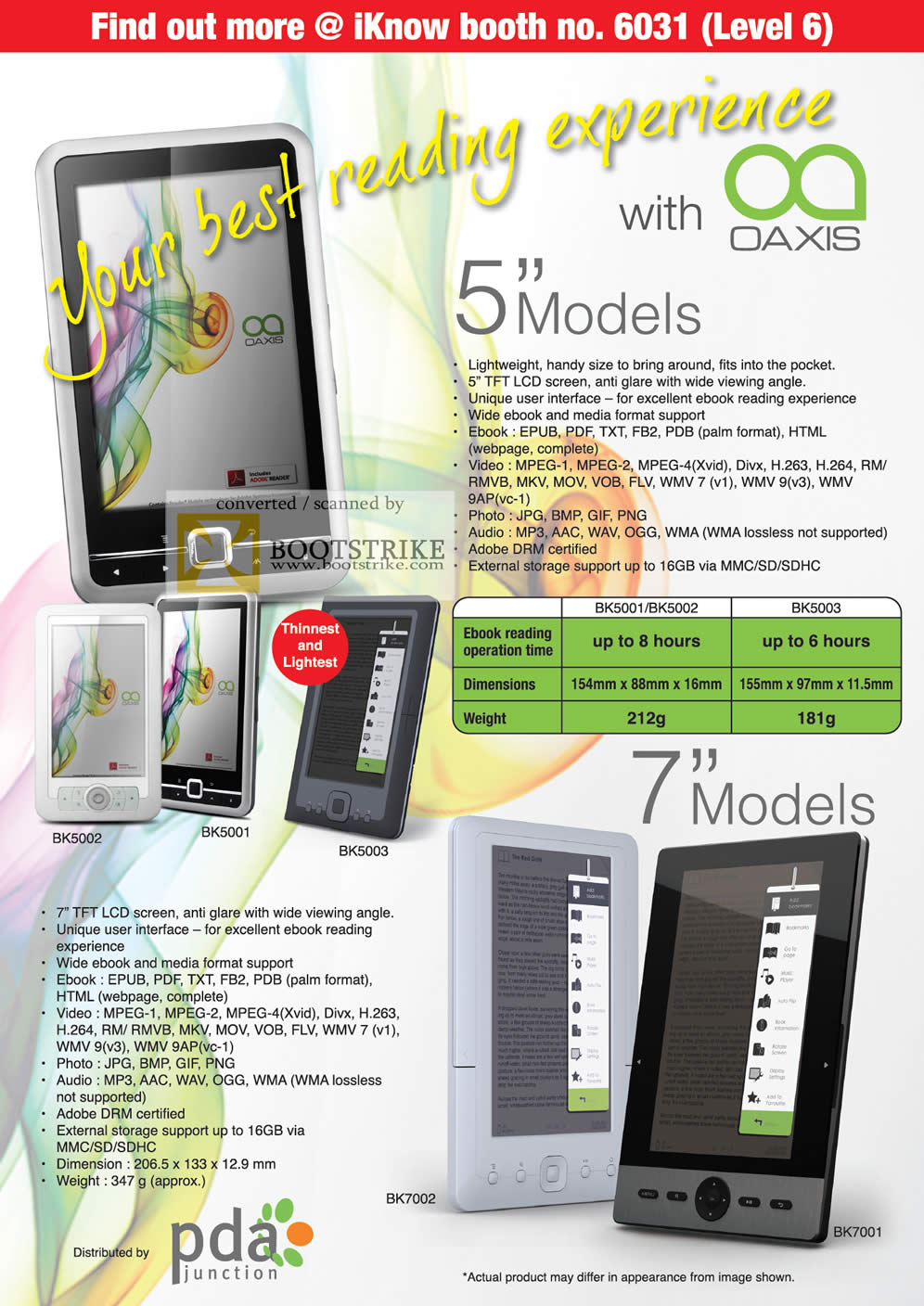 IT Show 2011 price list image brochure of IKnow Oaxis Ebook Reader BK5002 BK5001 BK5003 BK7002 BK7001
