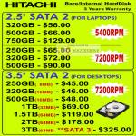 Hitachi Internal Hard Disk HDD SATA Notebooks Desktops 5400RPM 7200RPM