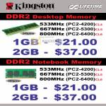 Kingston DDR2 Memory Desktop Notebook 533Mhz 667Mhz 800Mhz PC2 4200 5300 6400 CL4 CL5 CL6