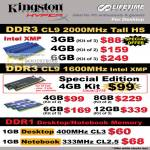 Kingston HyperX Memory DDR3 CL9 2000Mhz Tall HS 1600MHZ Intel XMP 4GB Kit DDR1 Desktop Notebook 400Mhz 333Mhz