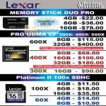 Lexar Flash Memory Memory Stick Duo Pro UDMA CF CompactFlash Platinum II 100x SDHC