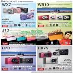 Cybershot Digital Cameras WX7 W510 J10 H70 HX7V
