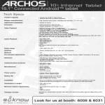 Archos 101 Internet Tablet Technical Specifications Android