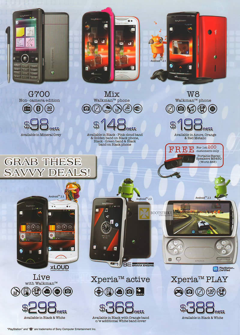 IT SHOW 2012 price list image brochure of 6range Sony Smartphones Mobile G700, Mix Walkman, W8, Live With Walkman, Xperia Active, Xperia Play