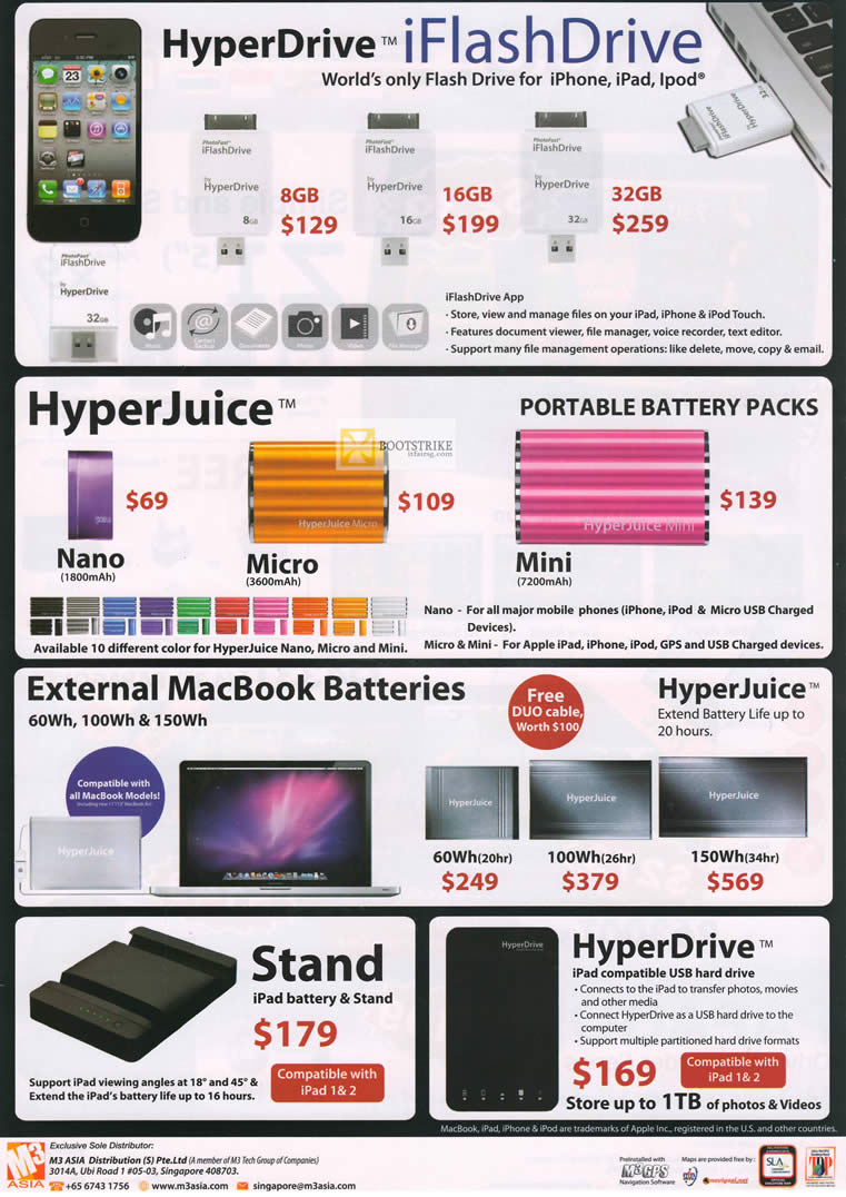 IT SHOW 2012 price list image brochure of AAAs Com HyperDrive IFlashDrive IPhone, IPad, HyperJuice Battery Pack, MacBook Battery, Stand