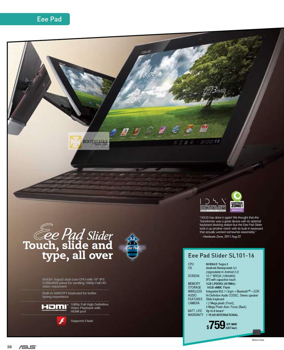 IT SHOW 2012 price list image brochure of ASUS Eee Pad Slider SL101-16
