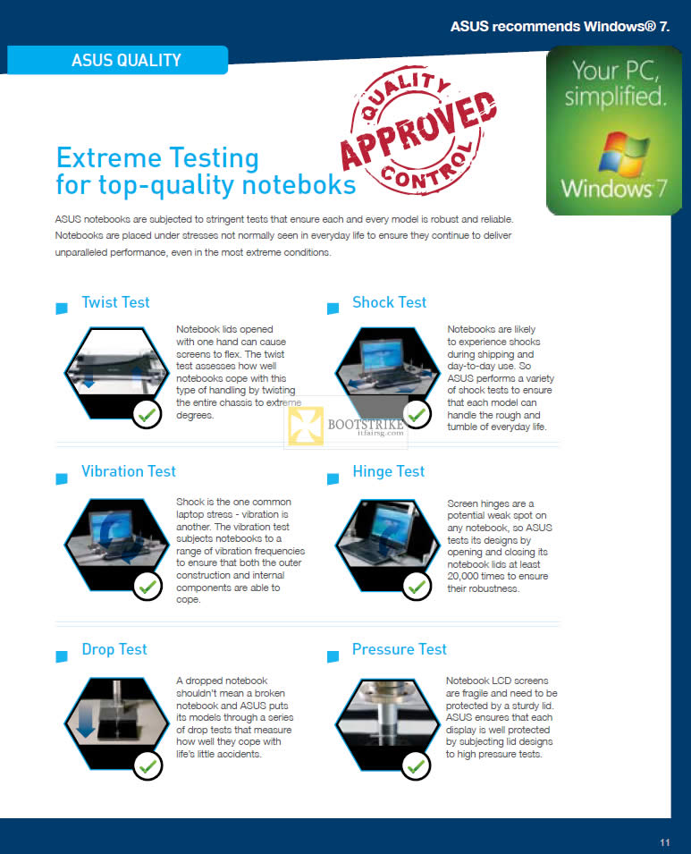 IT SHOW 2012 price list image brochure of ASUS Extreme Testing For Top Quality Notebooks, Shock, Twist, Hinge, Vibration, Pressure, Drop