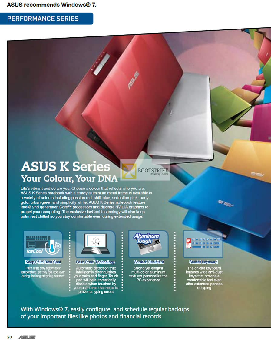 IT SHOW 2012 price list image brochure of ASUS K Series Notebooks Features, Chicklet Keyboard, Scratch Resistant, Palm Proof