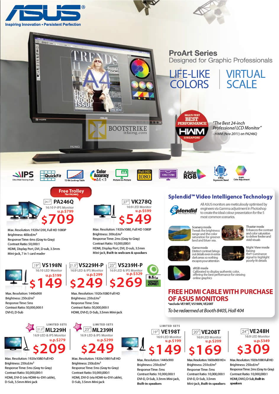 IT SHOW 2012 price list image brochure of ASUS Monitors ProArt LED IPS, PA246Q, VK278Q, VS198N, VS229H-P, VS239H-P, ML229H, ML239H, VE198T, VE208T, VE248H