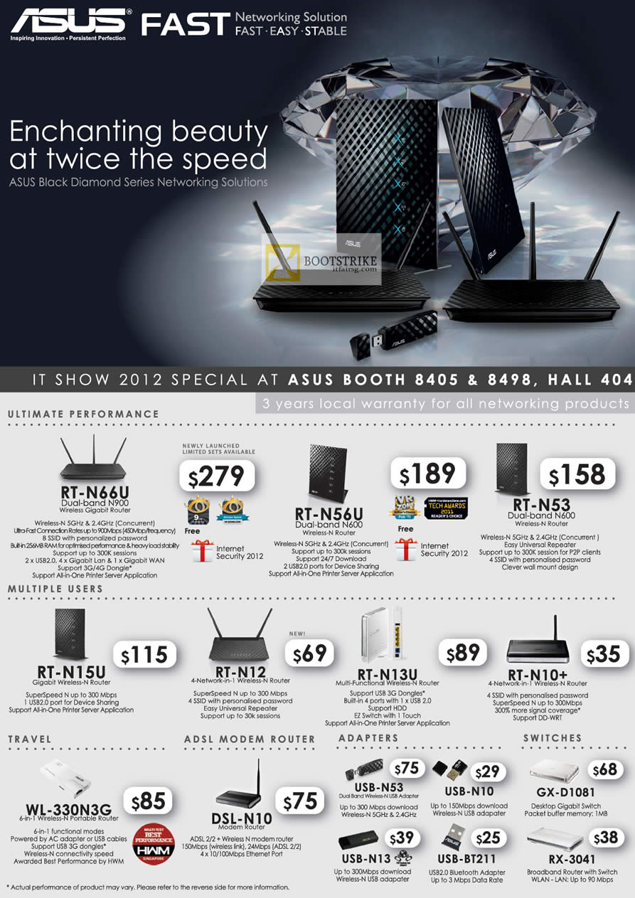 IT SHOW 2012 price list image brochure of ASUS Networking Router RT-N66U, RT-N56U, RT-N53, RT-N15U, RT-N12, RT-N13U, RT-N10, ADSL Modem Router, USB Adapter, Switches