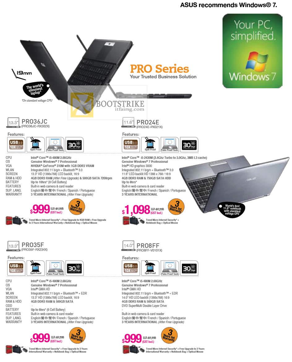 IT SHOW 2012 price list image brochure of ASUS Notebooks Business PRO PRO36JC-RX302X, PRO24E-PX021X, PRO35F-RX234X, PRO8FF-V0101X