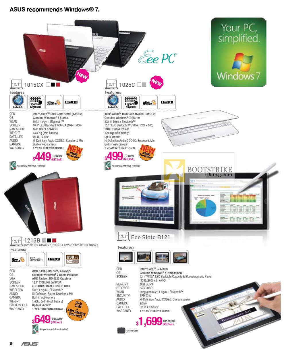 IT SHOW 2012 price list image brochure of ASUS Notebooks Eee PC 1015CX Netbook, 1025C, 1215B, Eee Slate B121