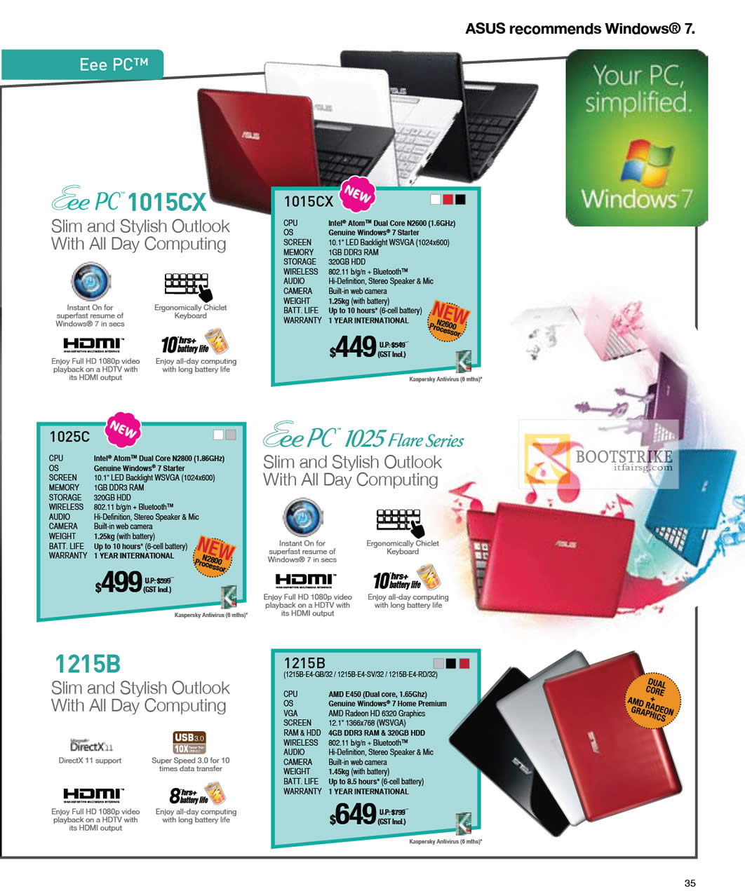 IT SHOW 2012 price list image brochure of ASUS Notebooks Eee PC Netbooks 1015CX, 1025C 1025 Flare Series, 1215B