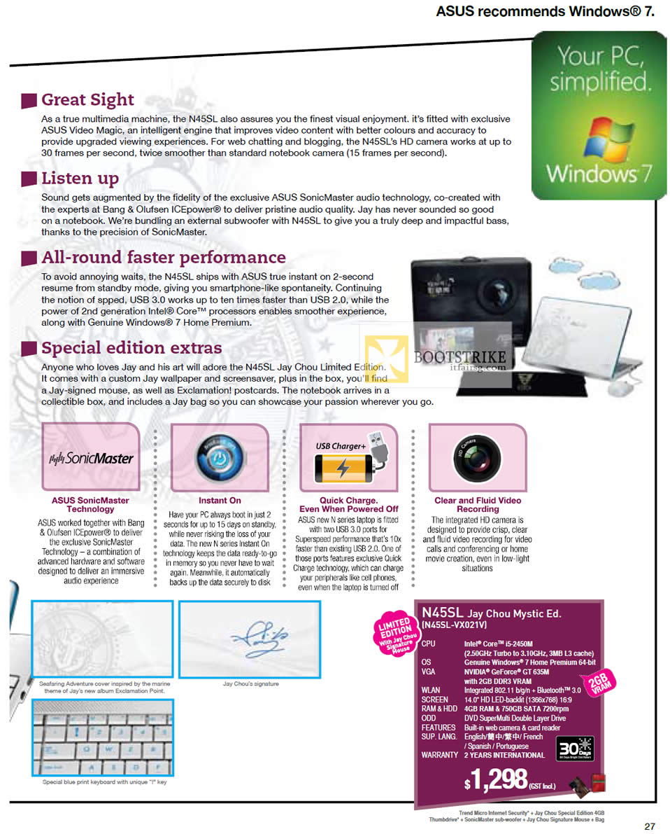IT SHOW 2012 price list image brochure of ASUS Notebooks N Series Features, Jay Chou Mystic Edition N45SL-VX021V