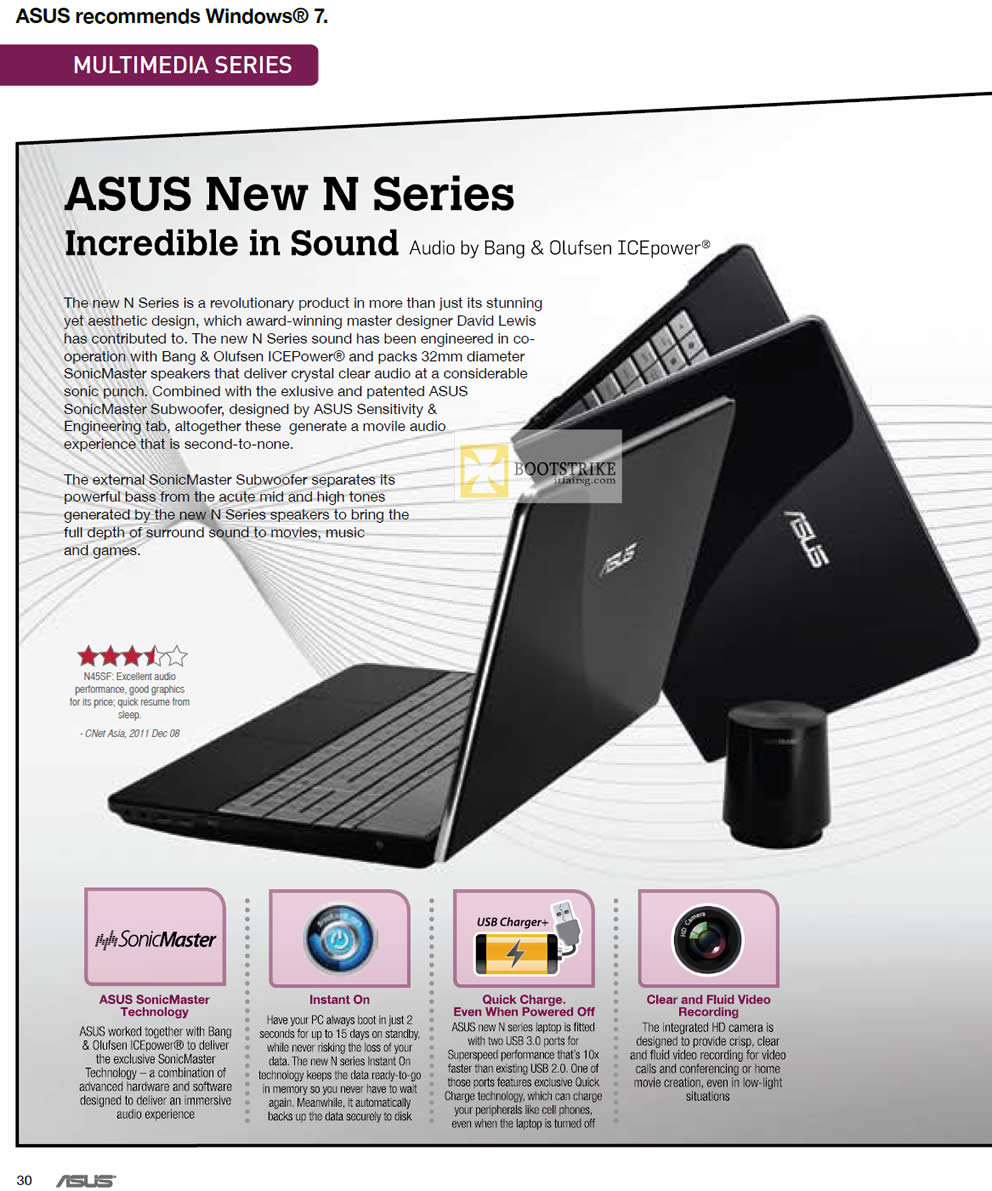 IT SHOW 2012 price list image brochure of ASUS Notebooks N Series Features, SonicMaster, Instant On, Bang Olufsen Icepower Audio