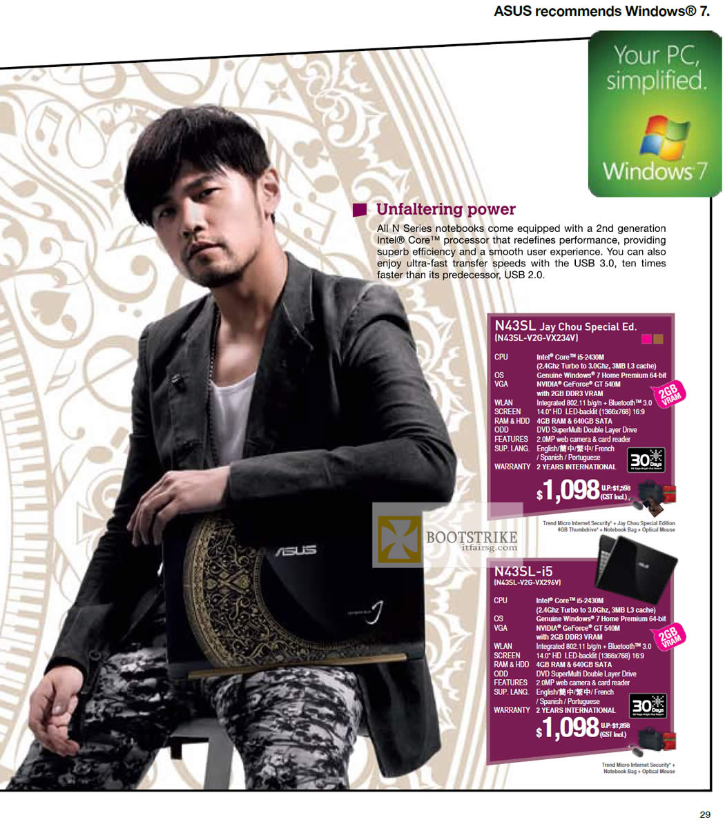 IT SHOW 2012 price list image brochure of ASUS Notebooks N Series Jay Chou Special Ed N42SL-V2G-VX234V, N43SL-V2G-VX296V