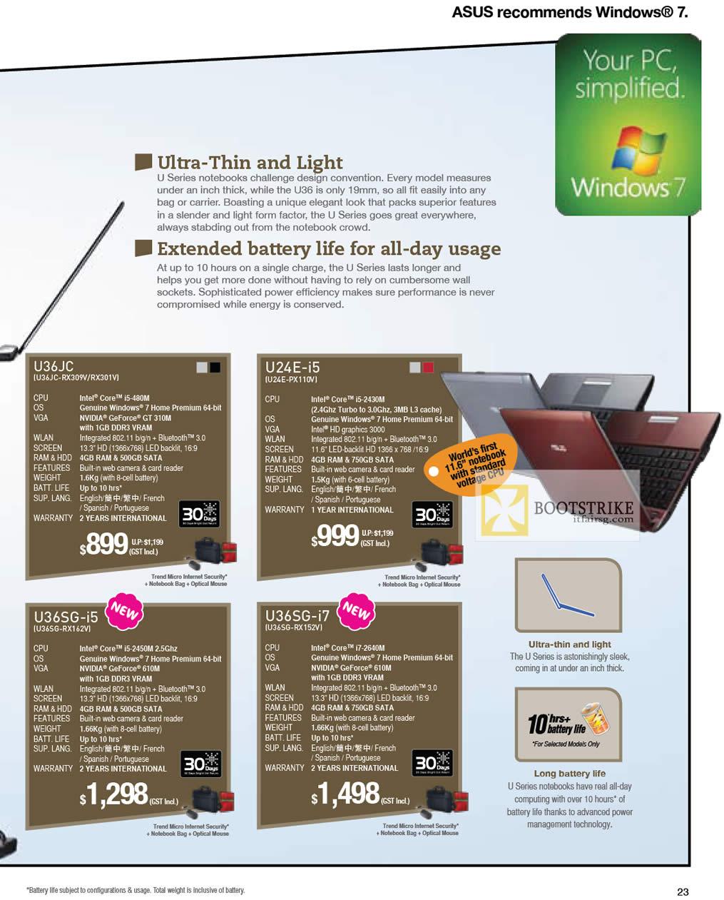 IT SHOW 2012 price list image brochure of ASUS Notebooks U Series Features U36JC-RX309V RX301V, U24E-PX110V, U36SG-RX162V, U36SG-RX152V