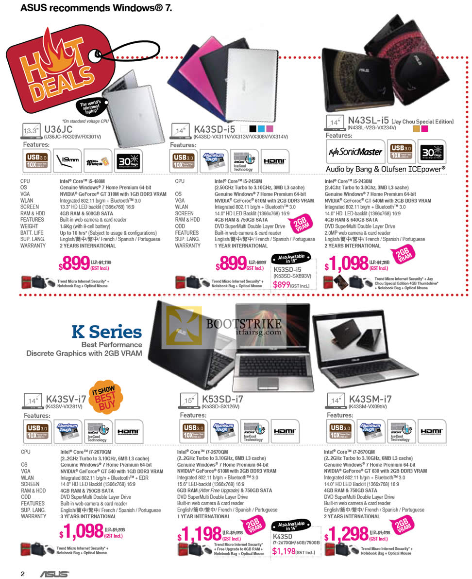 IT SHOW 2012 price list image brochure of ASUS Notebooks U36JC-RX309V RX301V, K43SD VX311V VX313V VX308V VX314V, N43SL-V2G-VX234V Jay Chou, K42SV-VX281V, K53SD-SX126V, K43SM-VX095V