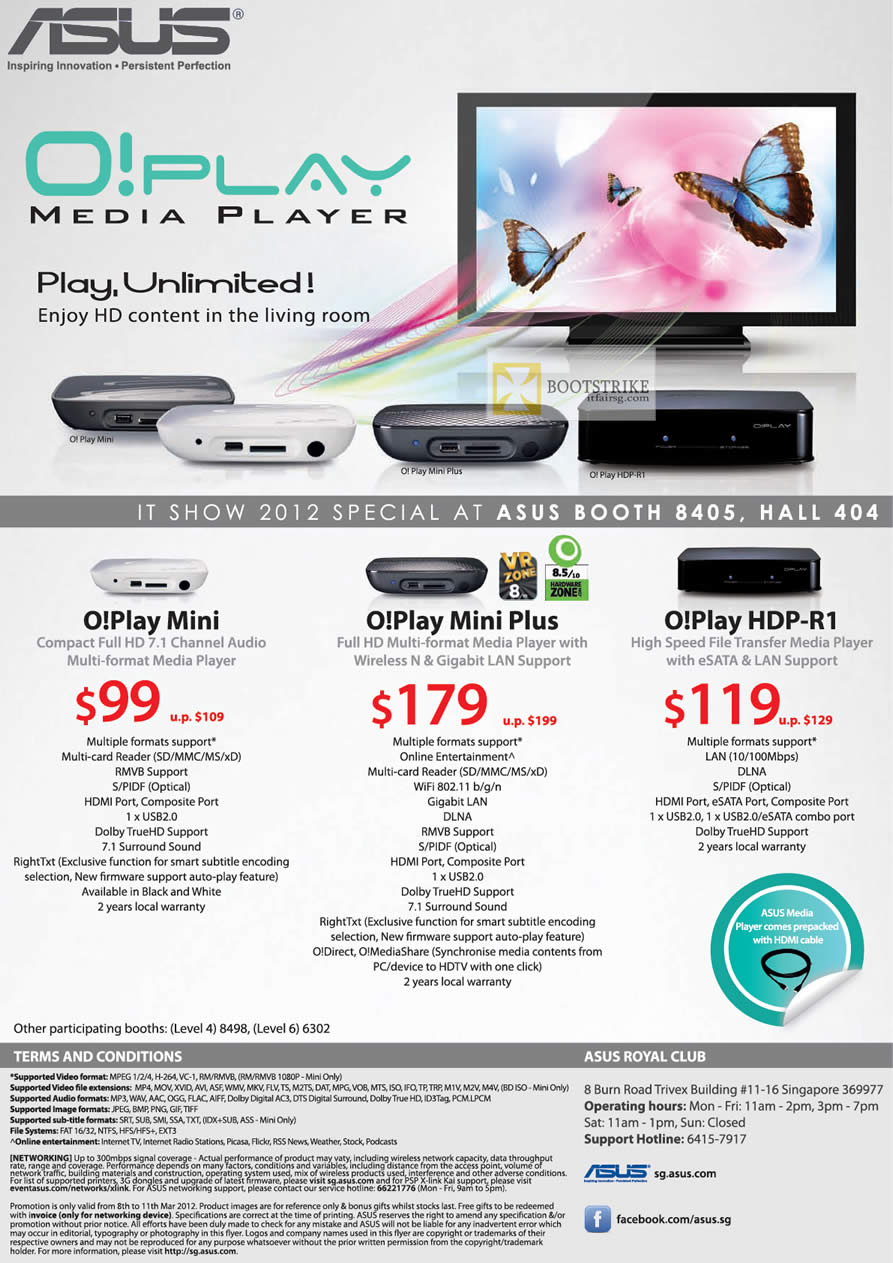 IT SHOW 2012 price list image brochure of ASUS O Play Media Player, O Play Mini, O Play Mini Plus, O Play HDP-R1