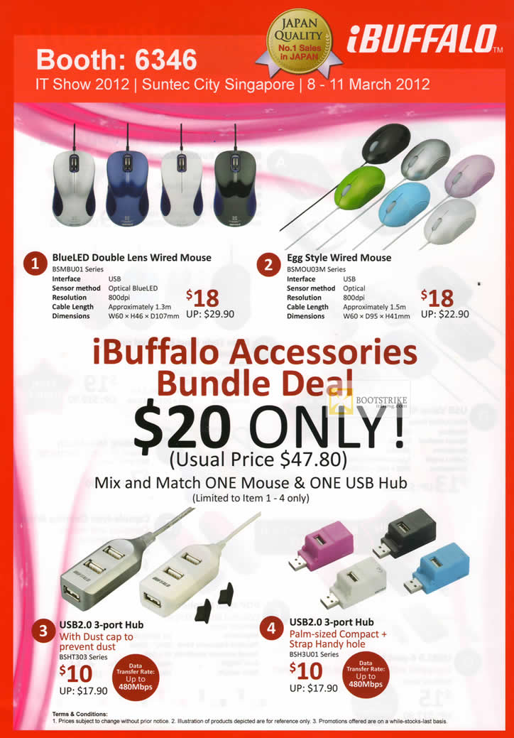 IT SHOW 2012 price list image brochure of Buffalo BlueLED Double Lens Mouse, Egg Style Mouse, Accessories, USB Hub, USB3