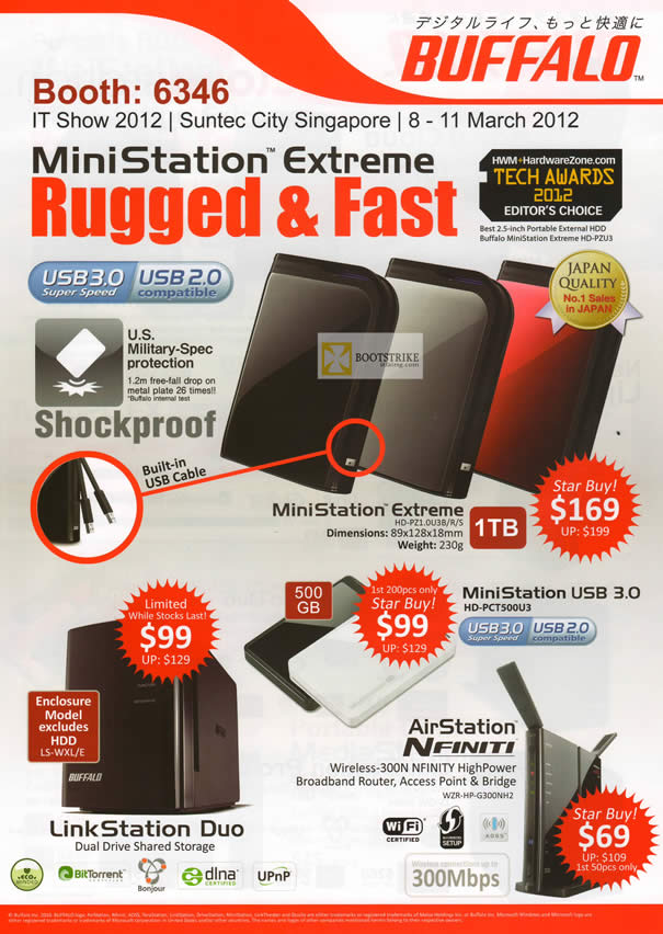 IT SHOW 2012 price list image brochure of Buffalo External Storage MiniStation Extreme USB3, USB, AirStation Nfinity Router, LinkStation Duo