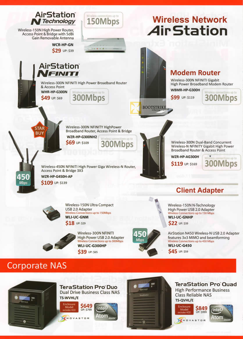 IT SHOW 2012 price list image brochure of Buffalo Networking AirStation Wireless Router, Nfiniti, Modem, USB Adapter, NAS TeraStation Pro Duo, Quad