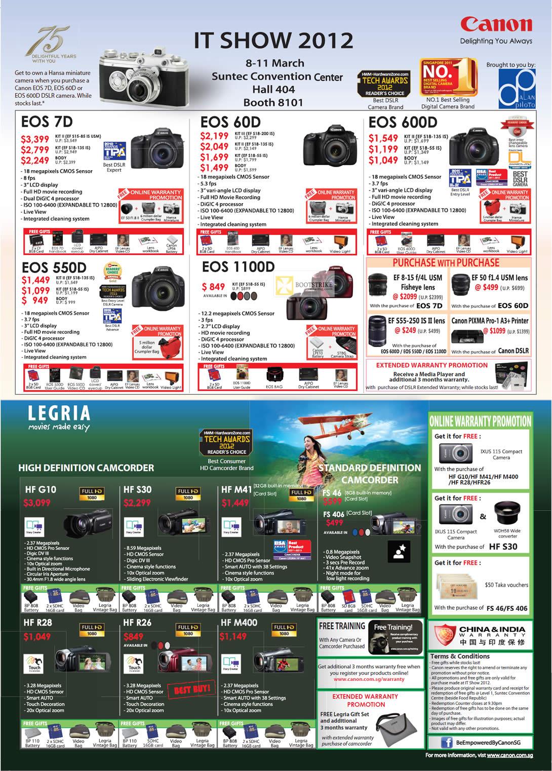 Canon Digital Cameras DSLR EOS 7D, EOS 60D, EOS 600D, EOS