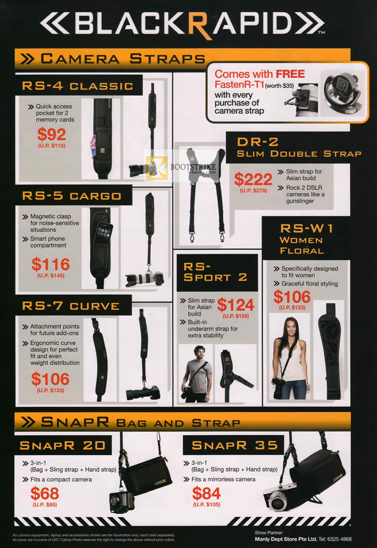 IT SHOW 2012 price list image brochure of Cathay Photo Black Rapid Camera Straps, RS-4 Classic, RS-5 Cargo, RS-7 Curve, DR-2, RS-W1, RS-Sport, SnapR Bag Srap 20 35