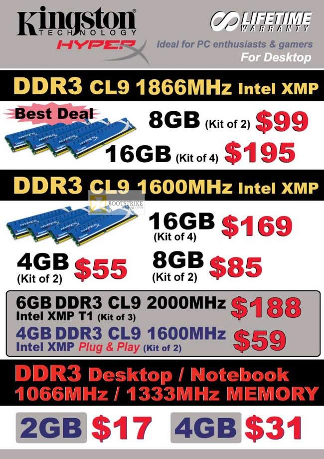 Convergent Kingston Memory RAM DDR3 1866Mhz, 1600Mhz Intel XMP