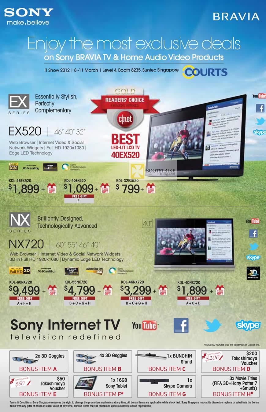 IT SHOW 2012 price list image brochure of Courts Sony Bravia LED LCD TV KDL-46EX520, KDL-40EX520, KDL-32EX520, KDL-60NX720, KDL-55NX720, KDL-46NX720, KDL-40NX720
