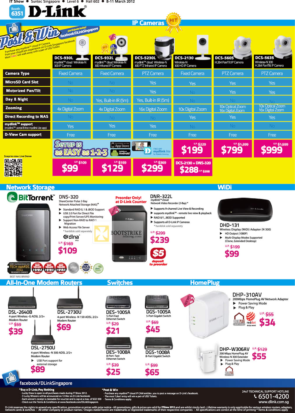 IT SHOW 2012 price list image brochure of D-Link Networking IPCam DCS-930L, DCS-5635, DCS-5605, DCS-2130, DCS-5230L, DCS-932L, DCS-930L, NAS DNR-322L, DNS-320, Modem Router, Switches, HomePlug