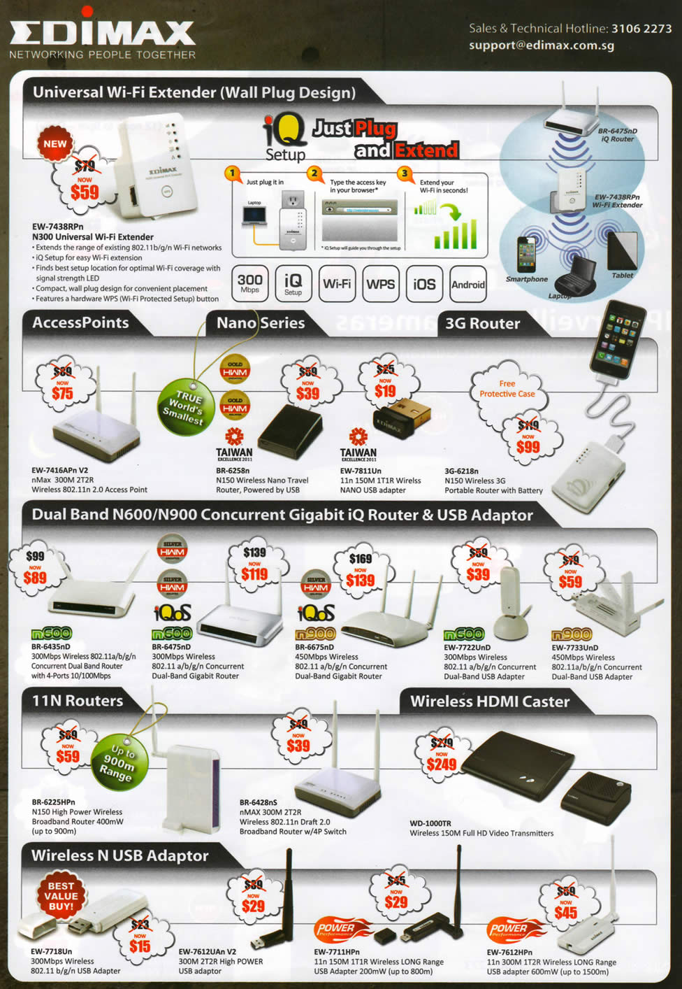 IT SHOW 2012 price list image brochure of Edimax Networking N300 Universal Extender, EW-7416APn V2 Router, Nano Travel Router 3G, USB Adapter, HDMI Caster, IQ Router