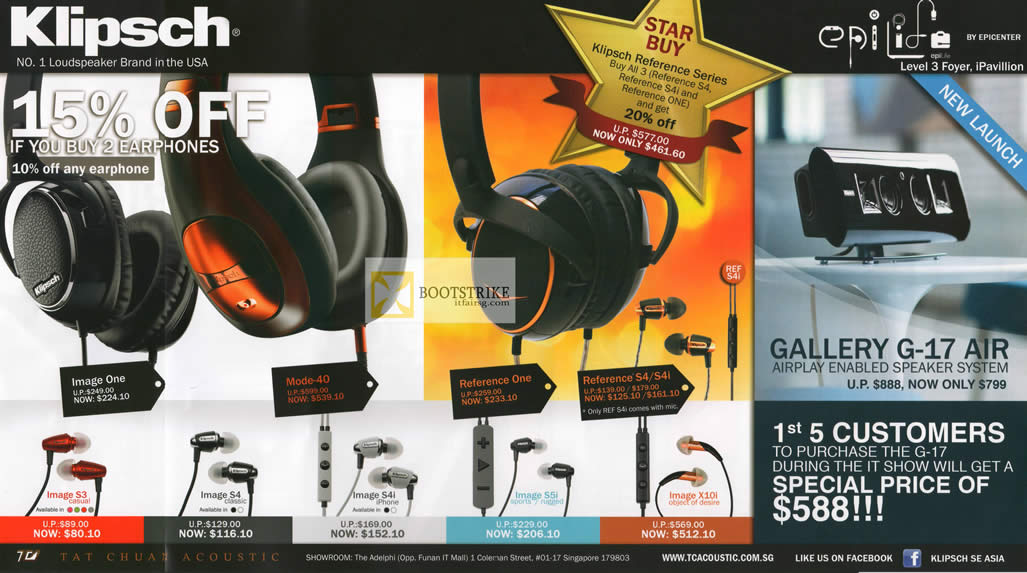 IT SHOW 2012 price list image brochure of EpiCentre Klipsch Headphones Image One, Mode-40, Reference One, S4 S4i, Gallery G-17 Air