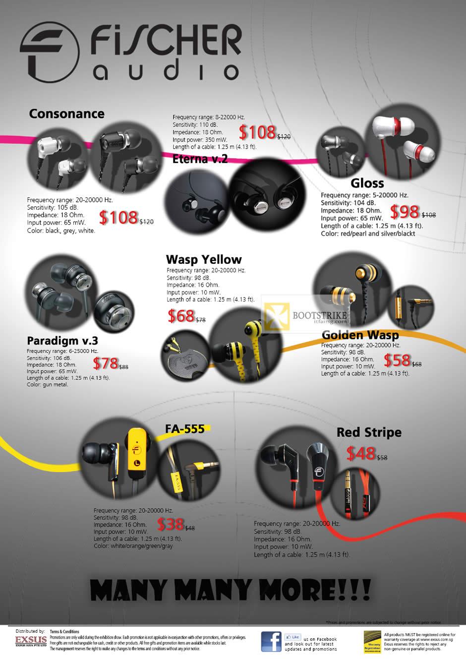 IT SHOW 2012 price list image brochure of EpiLife Fischer Audio Earphones Consonance, Eterna V.2, Gloss, Wasp Yellow, Golden Wasp, Paradigm V.3, FA-555, Red Stripe