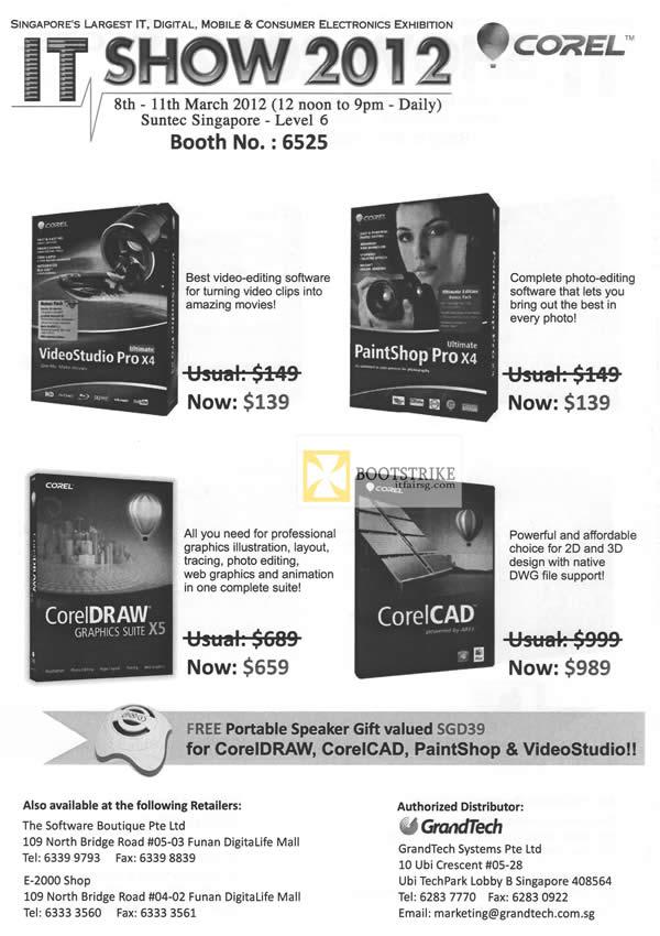 IT SHOW 2012 price list image brochure of Grandtech Corel Software VideoStudio Pro, PaintShop Pro X4, CorelDraw Graphics Suite, CorelCAD