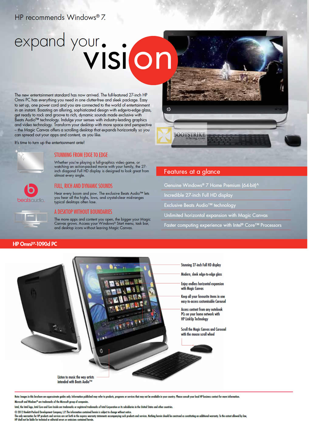 IT SHOW 2012 price list image brochure of HP AIO Desktop PC Omni27-1090d, Features