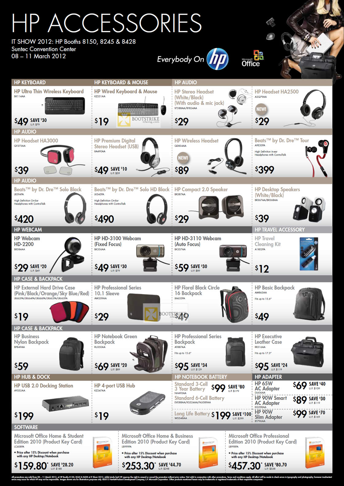 IT SHOW 2012 price list image brochure of HP Accessories Keyboard, Mouse, Headphones Headset Beats Dr Dre Solo, Webcam, Professional Sleeve, Case, USB Hub, Case, Backpack, Battery, Power Adapter