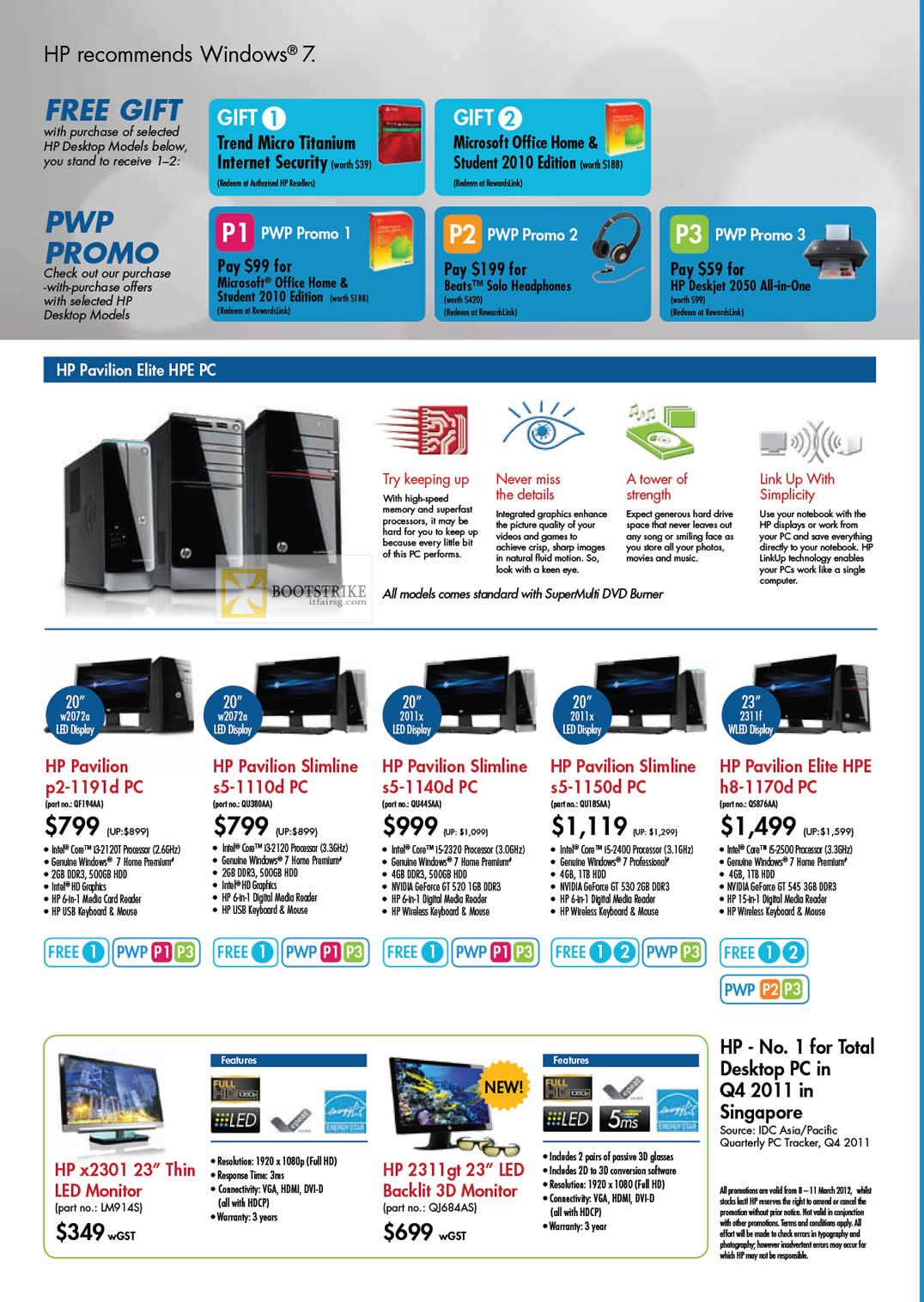 IT SHOW 2012 price list image brochure of HP Desktop PC Pavilion Elite HPE Features P2-1191d, Slimline S5-1110d, S5-1140d, S5-1150d, H8-1170d, X2301 LED Monitor, 2311gt 3D Monitor