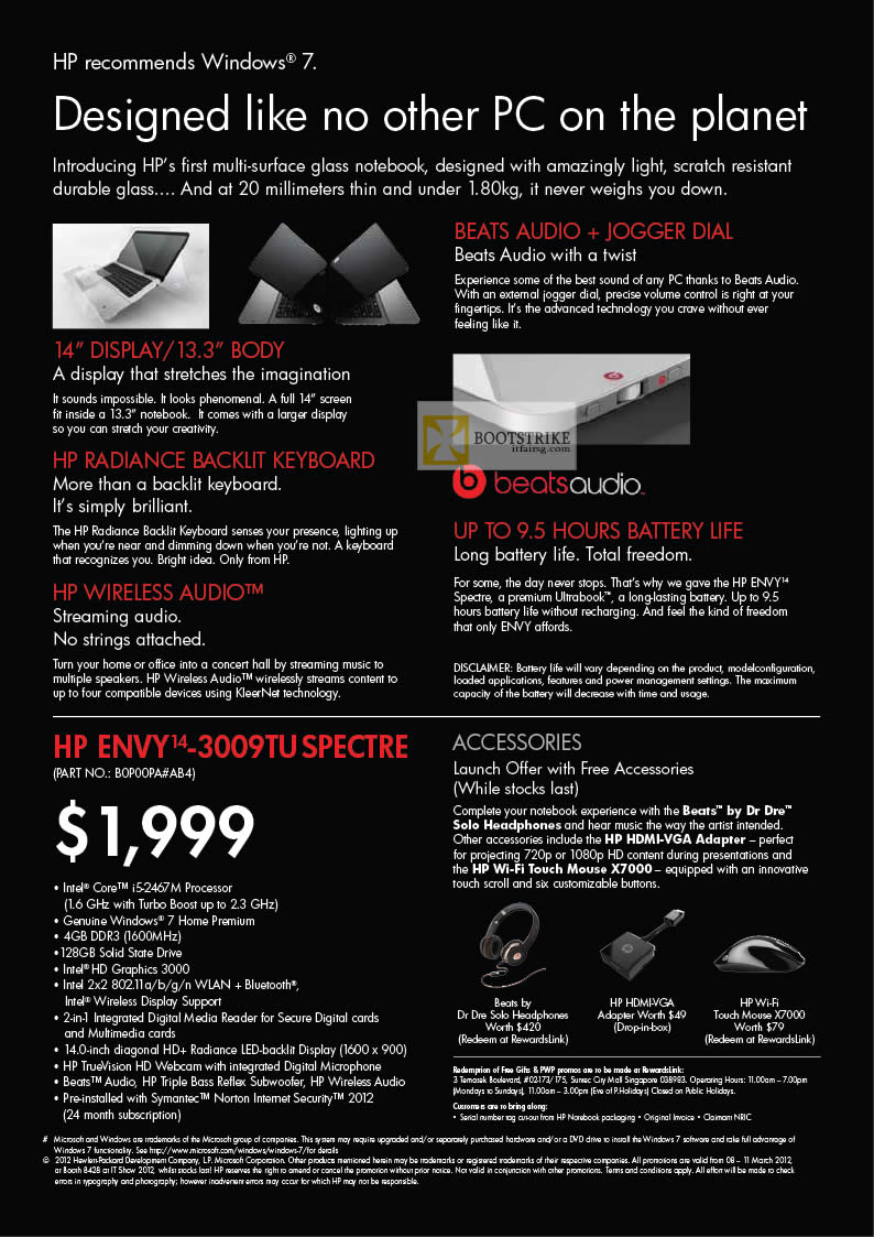 IT SHOW 2012 price list image brochure of HP Notebooks Envy 14-3009TU Spectre Ultrabook Features, Accessories