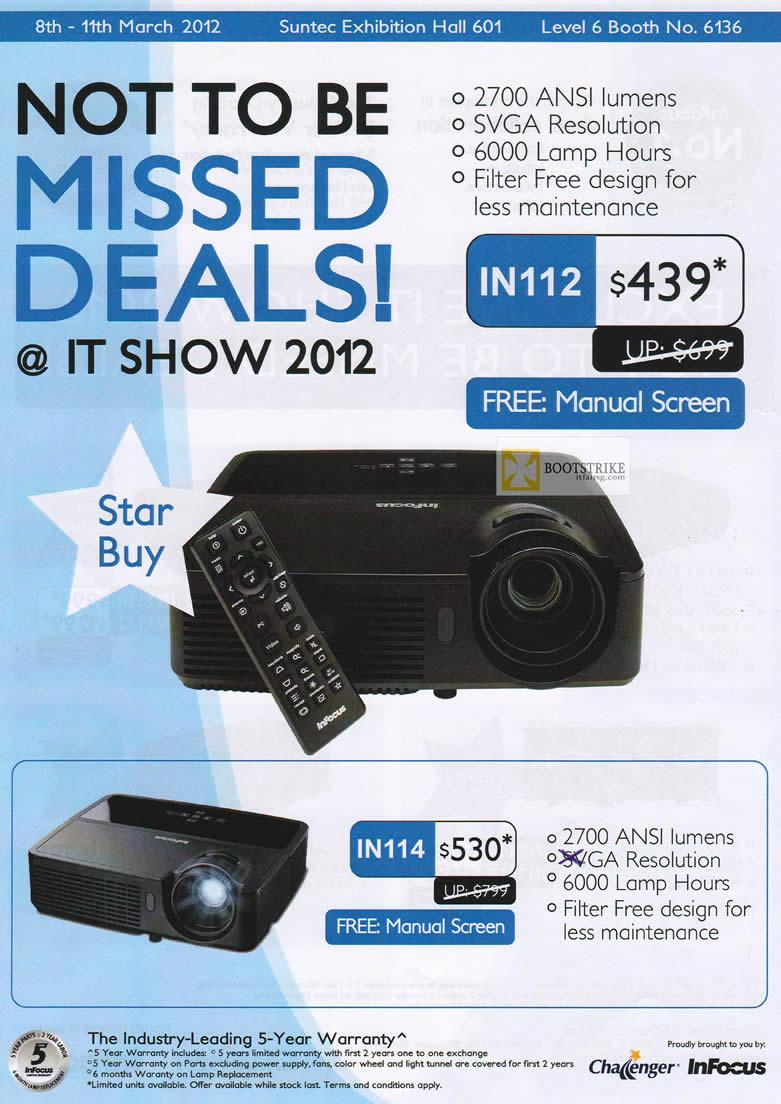 IT SHOW 2012 price list image brochure of Infocus Projectors IN112, IN114