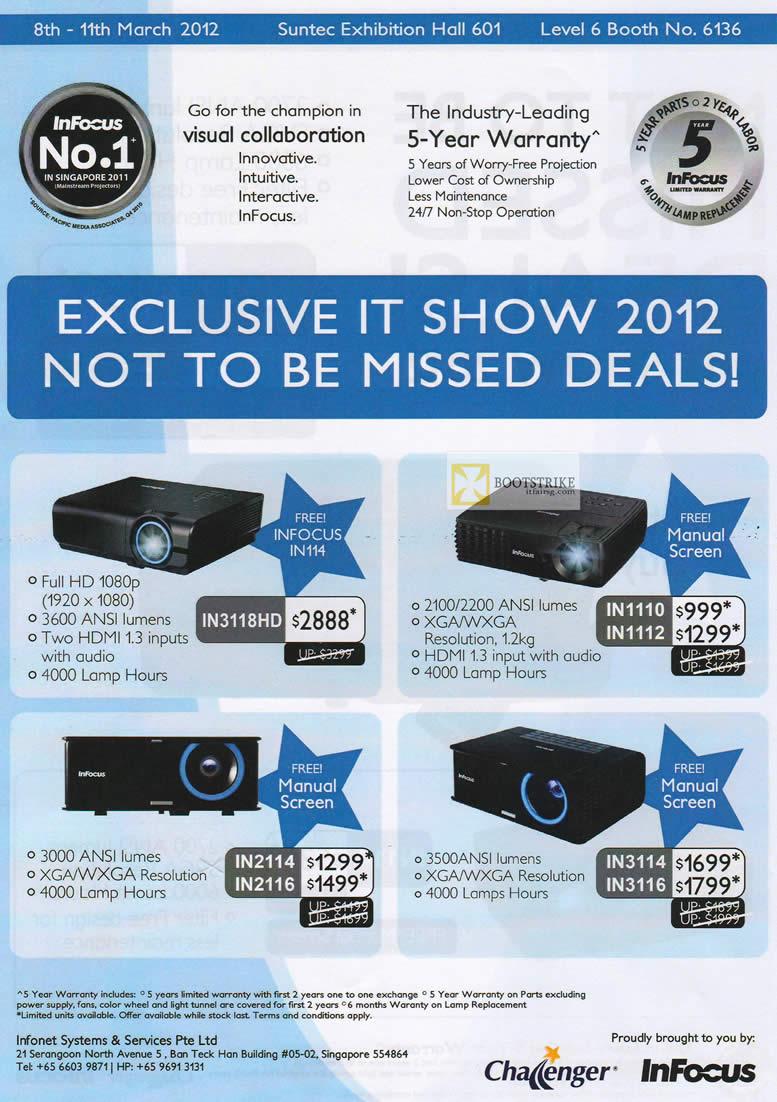 IT SHOW 2012 price list image brochure of Infocus Projectors IN3118HD, IN2114, IN2116, IN1110, IN1112, IN3114, IN3116