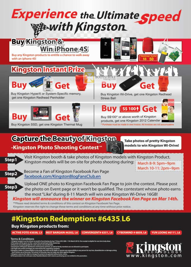IT SHOW 2012 price list image brochure of Kingston Memory, SSD, Flash Drive, Wi-Drive, Win IPhone 4S