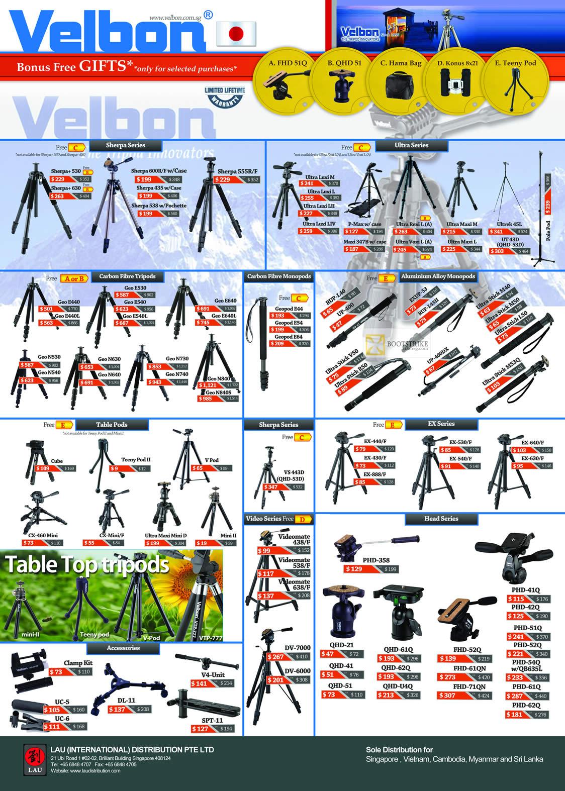 IT SHOW 2012 price list image brochure of Lau Intl Velbon Tripods, Sherpa, Ultra, Carbon Fibre, Aluminium Alloy Monopods, Table, EX, Head, Table Top