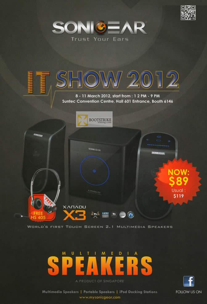 IT SHOW 2012 price list image brochure of Leap Frog Sonicgear Booth Details, Speakers, Xanadu X3