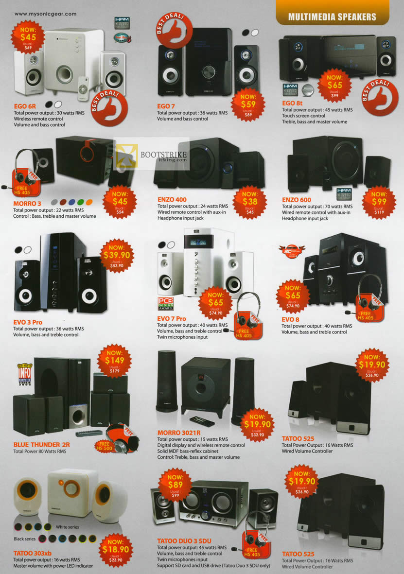 IT SHOW 2012 price list image brochure of Leap Frog Sonicgear EGO 6R, 7, 8t, Morro 3, Enzo 400, 600, Evo 3 Pro, Evo 7, Evo 8, Blue Thunder 2R, 3021R, Tatoo 525, 303xb, Duo 3 SDU, 525